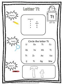 "Letter ""T"" Trace it, Find it, Color it.  Preschool printab"