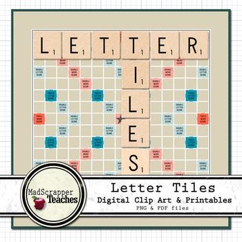 Letter Tiles Clip Art Graphics & Printables