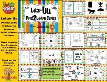 Letter Uu Language & Literacy Activity Center {COMMON CORE