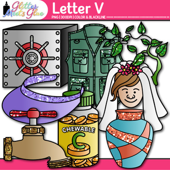 Letter V Alphabet Clip Art {Teach Phonics, Recognition, an