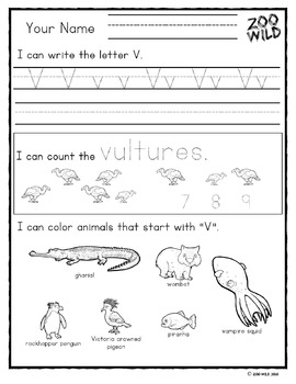 Letter V, W, X, Y & Z Practice Page -- Zoo Morning Work --