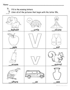 Letter Vv Words Coloring Worksheet