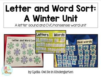 Sensory Bin Center Activities - Real and Nonsense Words Winter