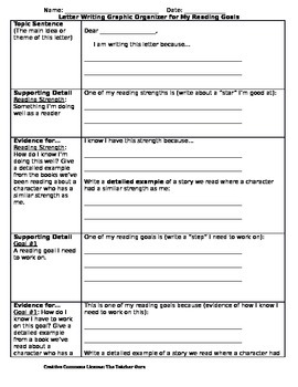 "Letter Writing Graphic Organizer for ""My Reading Goals"""