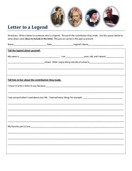 Letter Writing:  Letter to a Legend