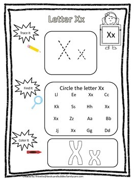 "Letter ""X"" Trace it, Find it, Color it.  Preschool printab"