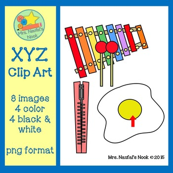Letter X,Y and Z Beginning Sound Clip Art