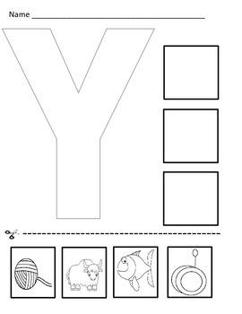 Letter Y Cut and Paste Worksheet