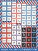 Letter and Number Labels - Stars and Stripes Theme {Red, W