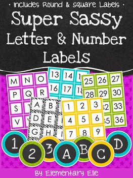 Letter and Number Labels - Super Sassy Theme {Bold and Zeb