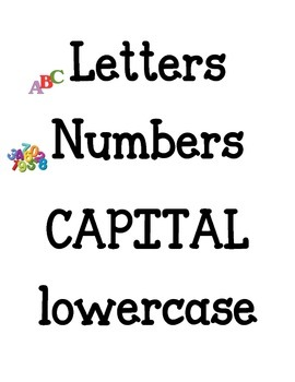 Letter and Number Recognition Sort