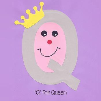 Alphabet Art Craftivity, Upper Q (Queen)
