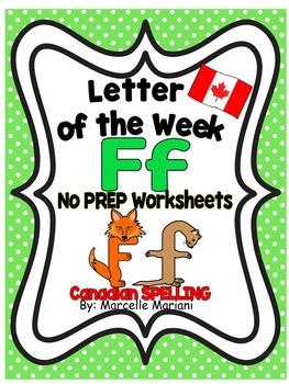 Letter of the week-LETTER F-NO PREP WORKSHEETS- CANADIAN SPELLING