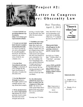 Letter to Congress: Obscenity Laws (Major writing project)