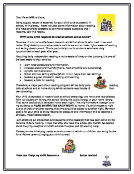 Letter to Parents About Independent Reading