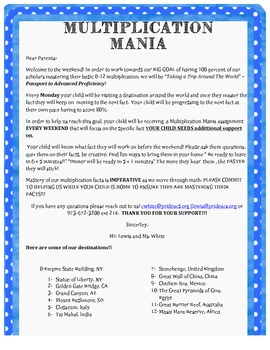 Letter to Parents- Multiplication Support
