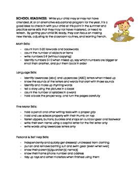 Letter to Parents: School Readiness