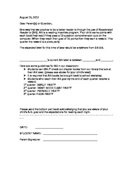 Letter to Parents about AR