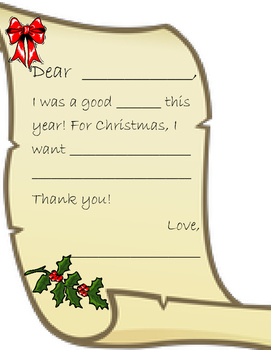Letter to Santa or Parent