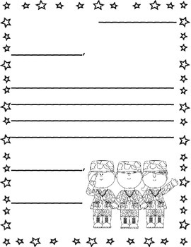 Letter to Soldiers Template/ Veteran's Day/ 9-11