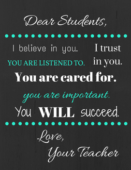 Letter to Students Poster