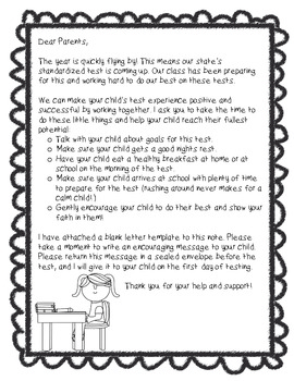 Letter to parents before testing