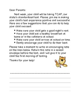 Letter to parents for testing week