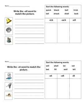 Letterland Unit 5 Word Family Practice Sheet - ell, et, en