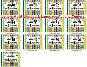 Letters A - M  Literacy & Language Activity Centers {COMMO