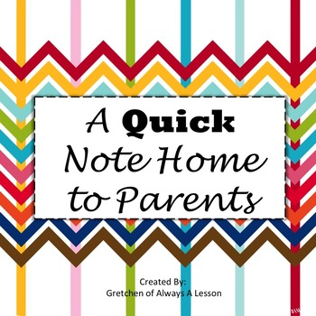 A Quick Note Home to Parents
