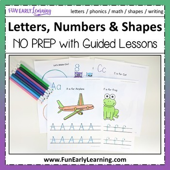 Letters, Numbers, Shapes Worksheets & Guided Lessons Bundl