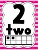 Letters, Numbers, and a Voice Level Chart: Pink, Blue, Gre