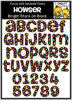 Letters and Numbers Clip Art - HOWSER (Bright Stars on Bla