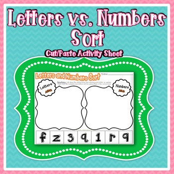 Letters and Numbers Sort ~ Cut & Paste Activity Sheet