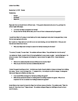 Letters from Rifka - Guided Reading Questions