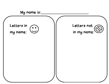 Letters in my name/ Letters in the word sort