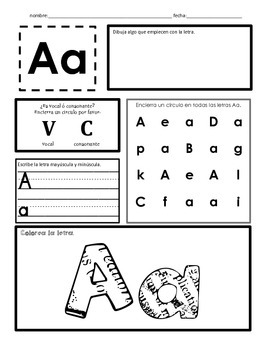 Letters in spanish, word work is Spanish, Las letras A-Z