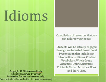 PowerPoint: Idioms -  Whole Group, & Center Activities, Co