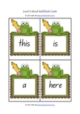 Level 0 - Learn to Read Flash Cards/Word Wall - frog theme