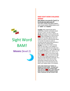 Level 2_MOONS Sight Word BAM! Game