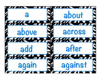 Level 3 Core Word Cards- Zebra Print