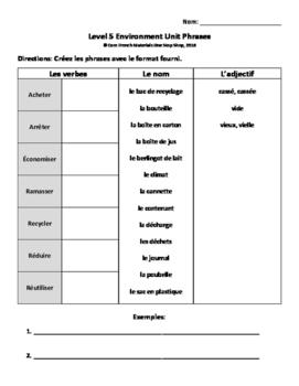 Level 5 Environment Phrases Handout