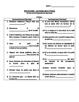 Level 5 Rooms in the School French Vocabulary Crossword an