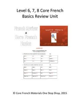 Level 6, 7, 8 Core French Basics Review Unit Bundle