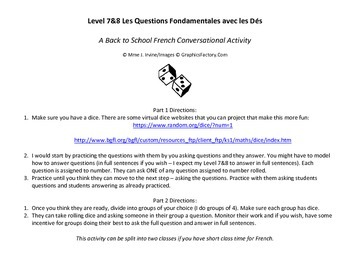 Level 7 and 8 Back to School Conversational Activity with Dice