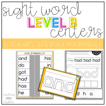 Level B Sight Word Centers