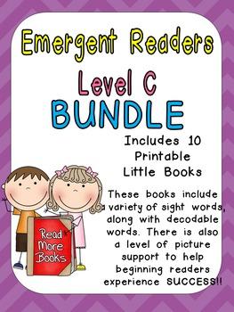 Level C Emergent Reader Bundle for Kindergarten- Guided Re