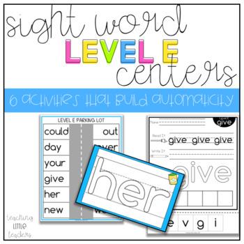 Level E Sight Word Centers