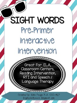 Leveled Interactive Reading Intervention: Pre-Primer Dolch