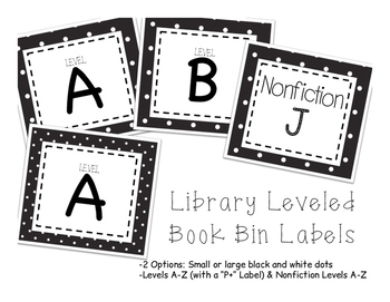Leveled Library Labels - Black and White Dot